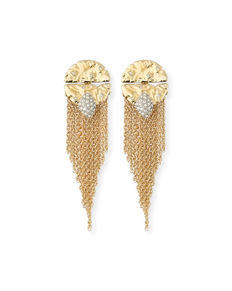 Rocky Medallion Chain Fringe Earrings