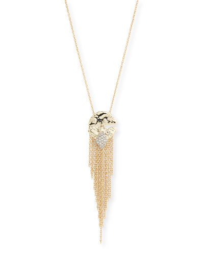 Rocky Medallion Chain Fringe Pendant Necklace