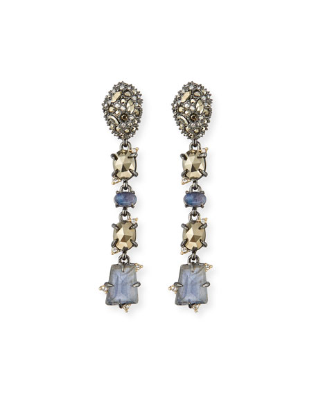 Alexis Bittar Linear Mixed-Cut Crystal Drop Earrings