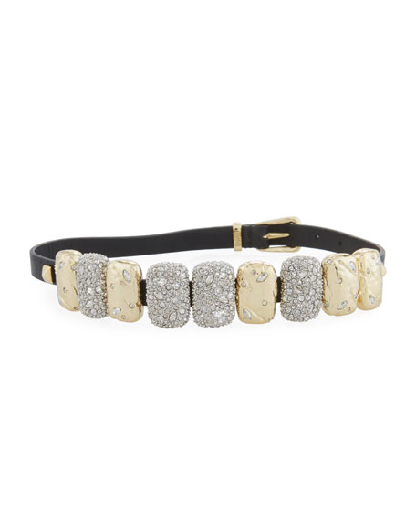 Alexis Bittar Rocky Crystal Leather Choker Wrap Bracelet