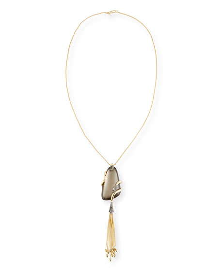 Alexis Bittar Wrapped Snake Pendant Necklace with Tassel