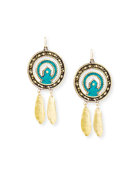 Devon Leigh Turquoise Leaf Pendant Earrings