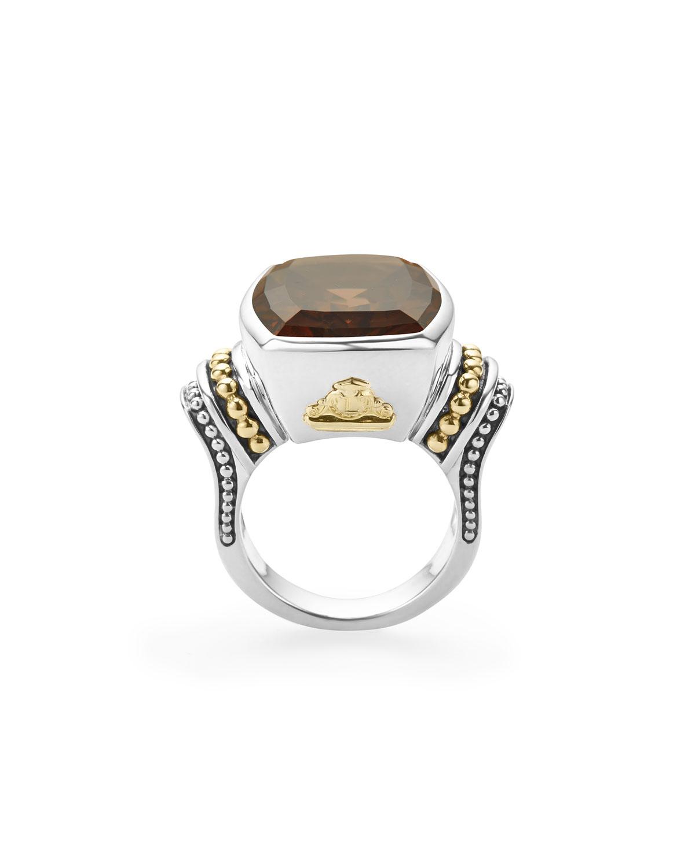 Lagos 20mmm Caviar Color Smoky Quartz Ring, Size 7