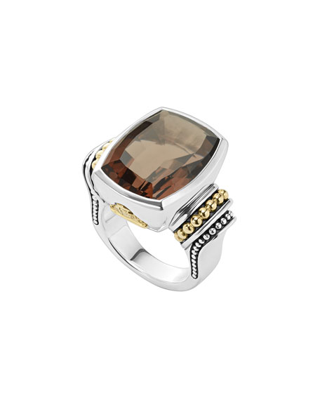 Lagos 20mmm Caviar Color Smoky Quartz Ring, Size 7