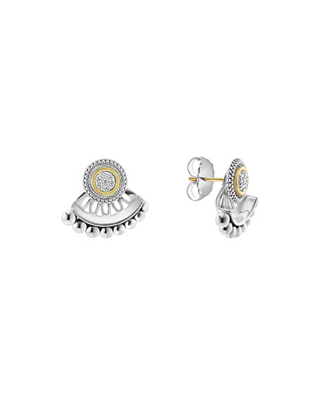Lagos Diamond & Caviar Jacket Stud Earrings