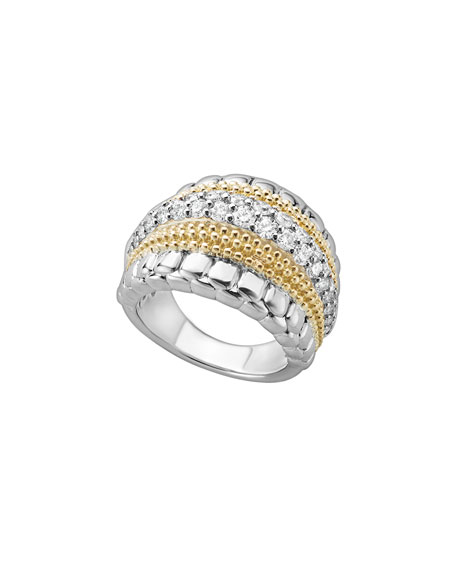 Lagos Lux Medium Band Ring with Diamonds, Size