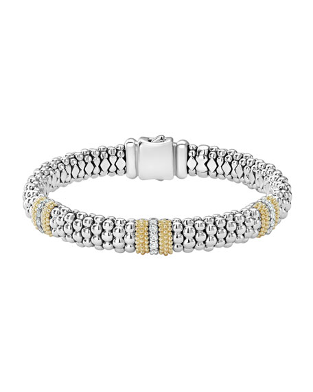 Lagos Diamond Lux 9mm Three Station Bracelet with