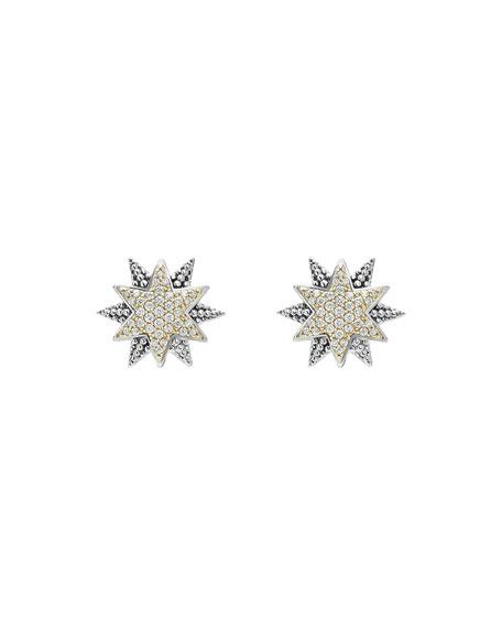 Sterling Silver & 18K Gold Star Stud Earrings with Diamonds