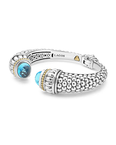 Caviar XL Cuff Bracelet with Blue Topaz Caps