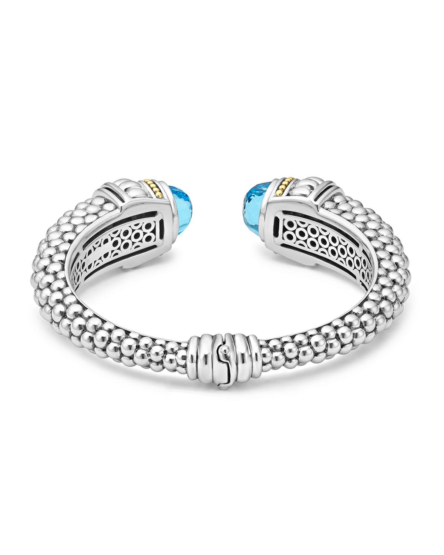 Lagos Caviar Medium Cuff Bracelet with Blue Topaz Caps lrJlmHELL
