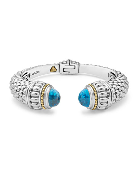 Lagos Caviar XL Cuff Bracelet with Blue Topaz