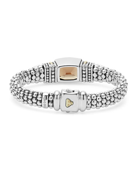 Caviar Color Large Station Bracelet with Smoky Quartz