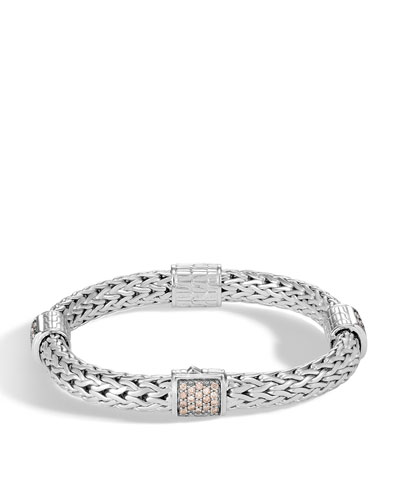 Classic Chain Silver Champagne Diamond Medium Four Station Bracelet