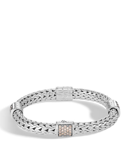 Classic Chain Silver Champagne Diamond Medium Four Station Bracelet