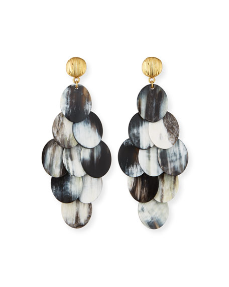 Mixed Horn Cluster Drop Earrings