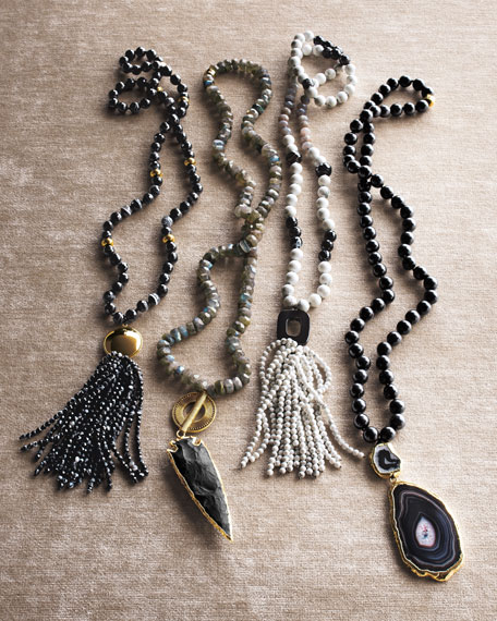 Black Agate Tassel Pendant Necklace