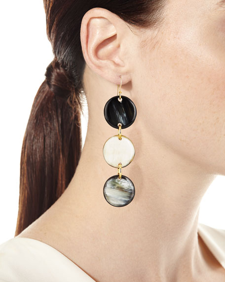 Horn Triple-Drop Disc Earrings