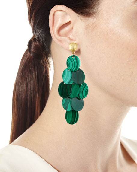 Image 2 of 2: NEST Jewelry Malachite Cluster Statement Earrings