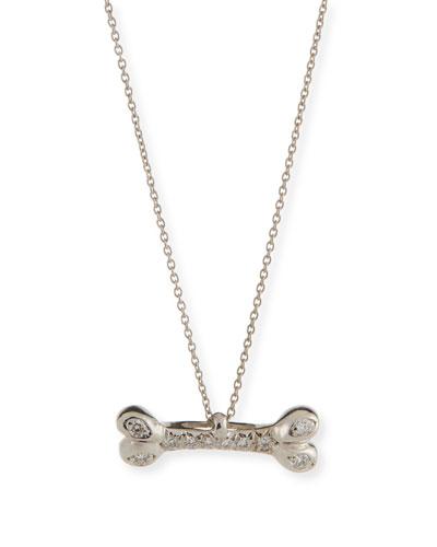 Dog Bone Pendant Necklace with Diamonds