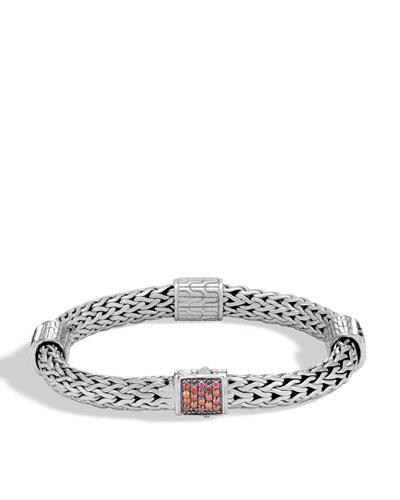 Classic Chain Silver Medium Four Station Bracelet with Garnet