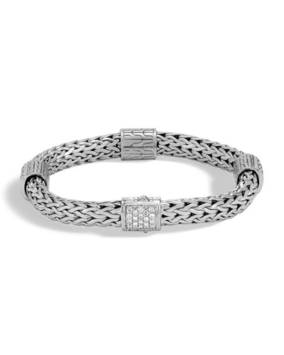 Classic Chain Silver Champagne Diamond Medium Four-Station Bracelet with Pusher Clasp