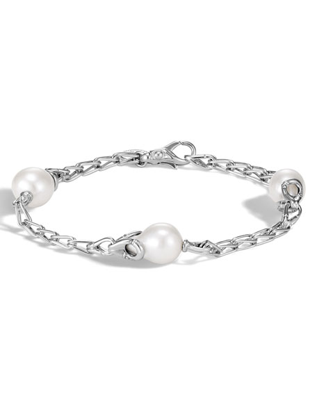 John Hardy Bamboo Silver Station Bracelet with Pearls