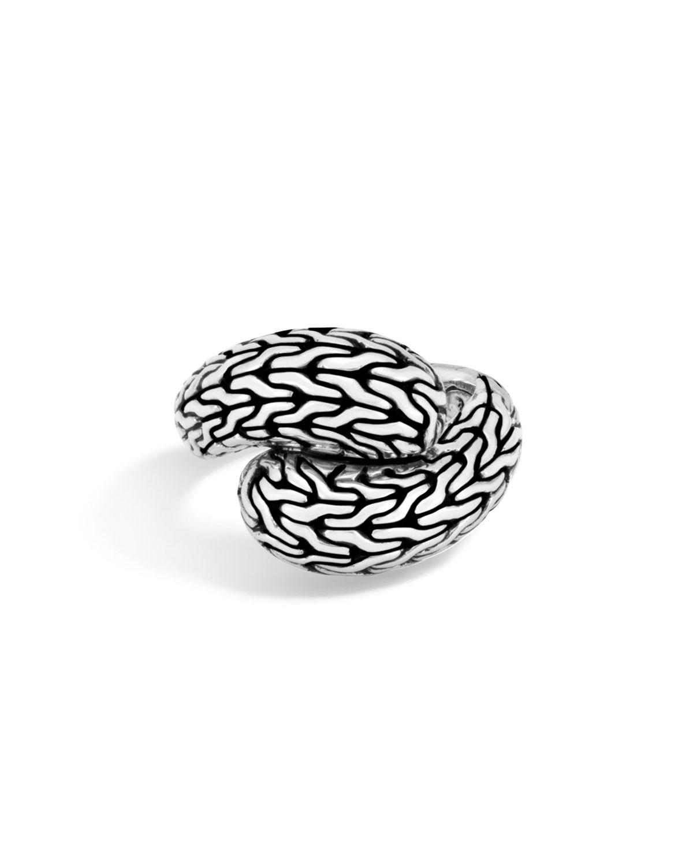 John Hardy Classic Chain Silver Medium Bypass Ring, Size 7