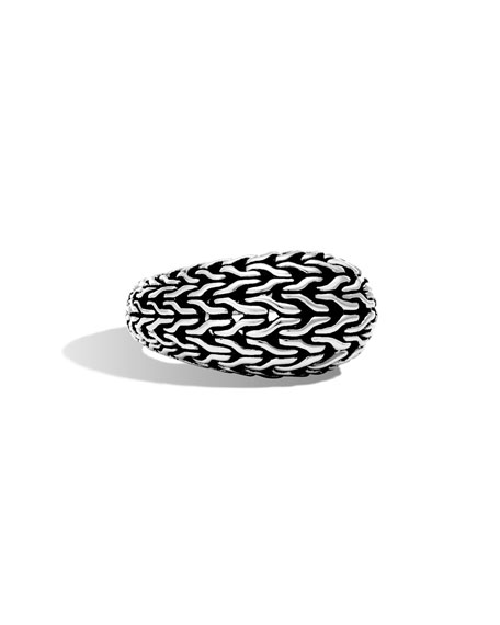 Classic Chain Silver Large Ring, Size 7