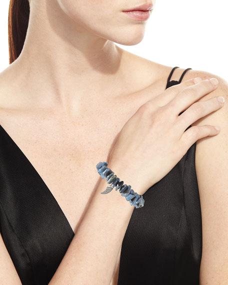 Sydney Evan Irregular Labradorite Beaded Bracelet with Diamond Horn Charm