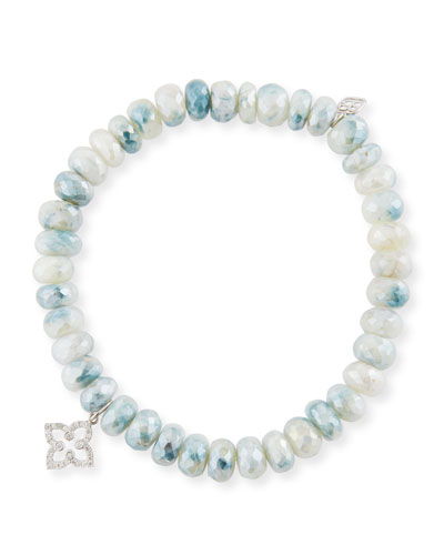 7mm Blue & White Corundum Beaded Bracelet with Diamond Moroccan Flower Charm