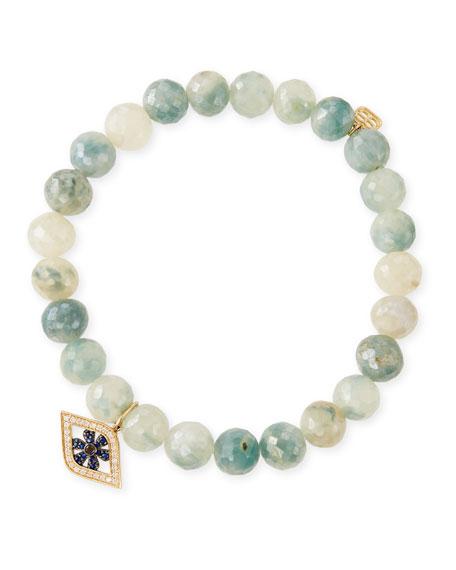 Sydney Evan 8mm Beaded Corundum Bracelet with Sapphire & Diamond Flower Eye Charm