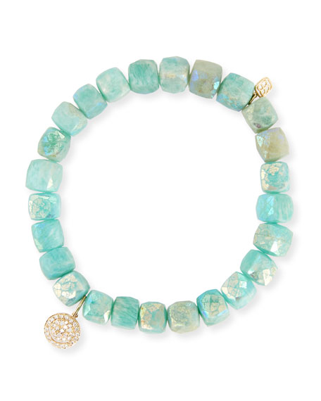 8mm Beaded Amazonite Bracelet with Diamond Happy Face Charm