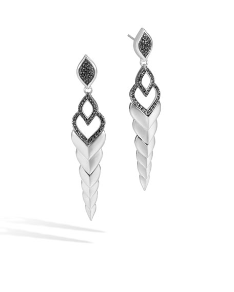 Legends Naga Silver Long Drop Earrings with Black Sapphire & Spinel
