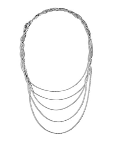 Legends Naga Silver Five Row Necklace with Sapphire & Spinel