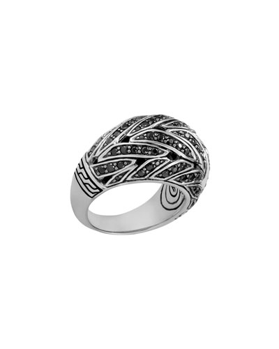 Classic Chain Silver Dome Ring with Black Sapphire & Black Spinel