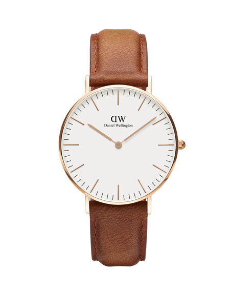Daniel Wellington 36mm Classic Durham Watch, Brown/White/Rose Golden