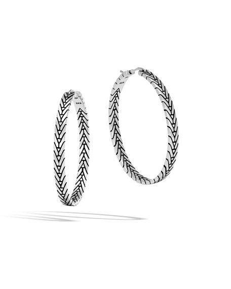 Modern Chain Silver Medium Hoop Earrings
