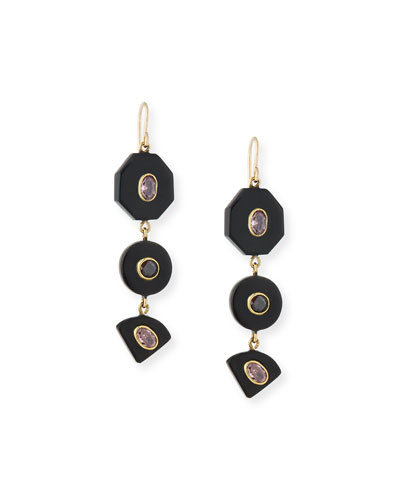 Zambarau Dark Horn Three-Drop Earrings