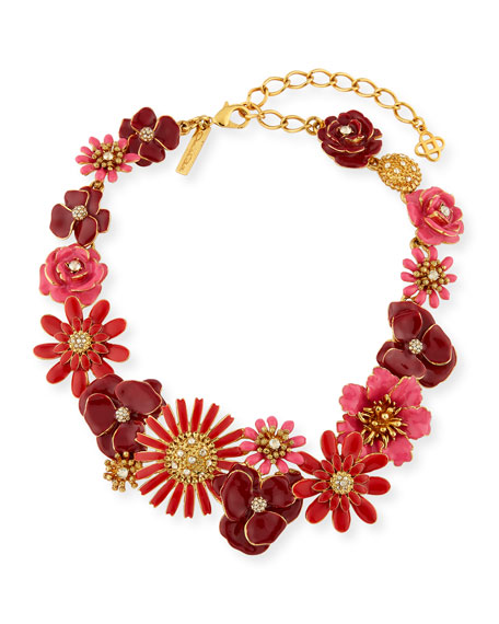 Small Gilded Floral Collar Necklace and Matching Items