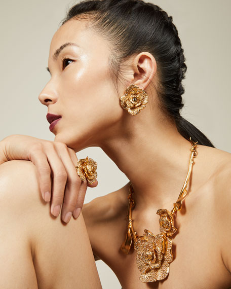 Pavé Crystal Flower Clip-On Earrings