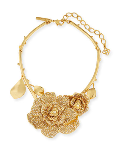 Pavé Crystal Flower Collar Necklace