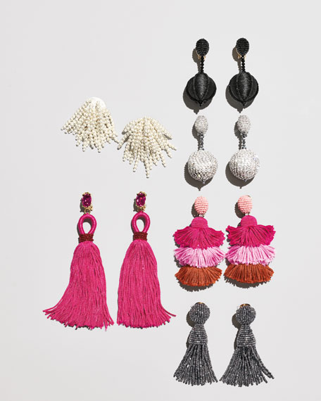 Image 2 of 2: Long Silk Tassel Drop Clip-On Earrings