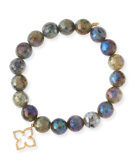 Sydney Evan Coated Labradorite Faceted Bead Bracelet with Diamond Moroccan Flower Charm hWearmtXUG