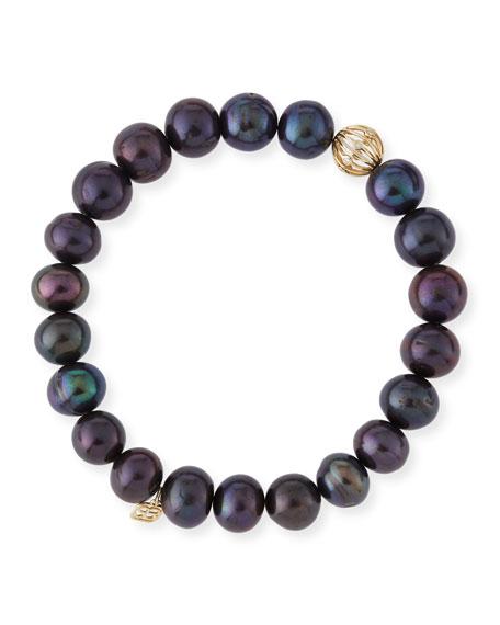 Sydney Evan Black Peacock Pearl Beaded Bracelet with