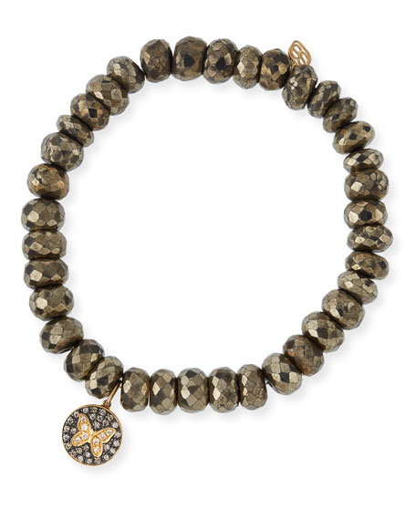 Sydney Evan Champagne Pyrite Beaded Bracelet with Diamond