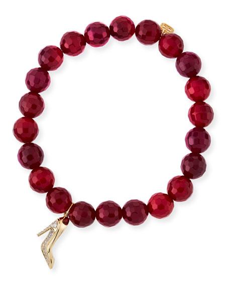 Beaded Red Agate Bracelet with Diamond Stiletto Charm