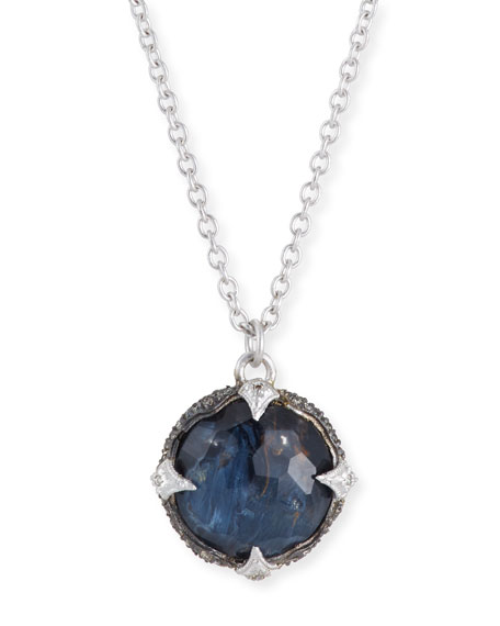 Armenta New World Round Blue Pietersite Pendant Necklace