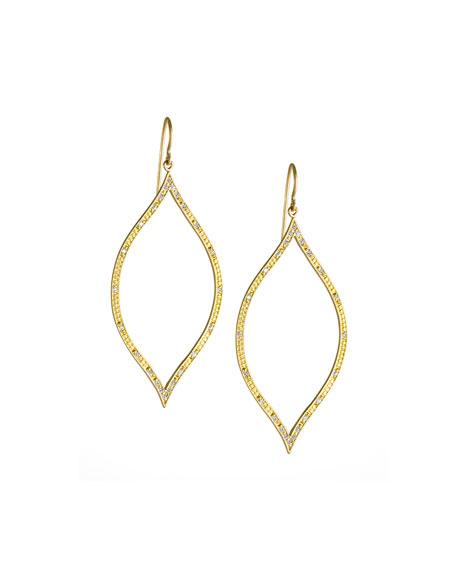 Engraved Diamond Leaf Earrings