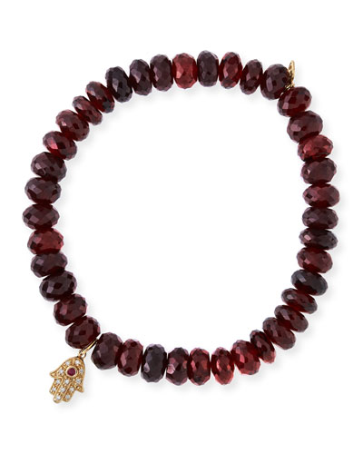 Faceted Garnet Beaded Bracelet with Diamond & Ruby Hamsa Charm