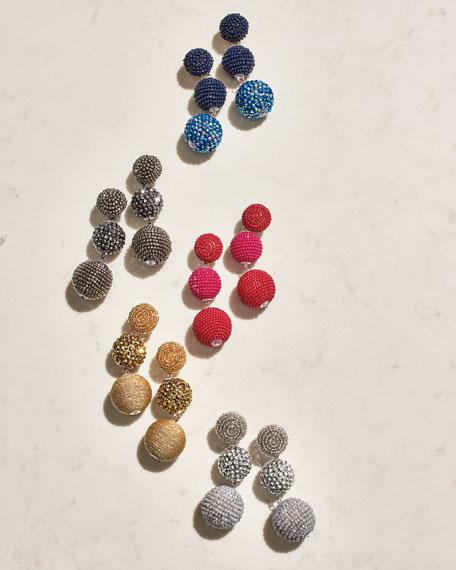 Beaded Silvertone Triple-Drop Earrings